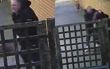 Screenshots from Shomrim's video showing the moment the assault pounced on a 20-year-old pregnant woman
