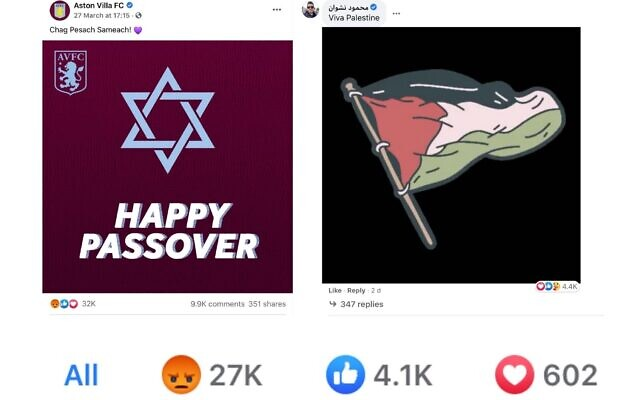 Aston Villa's Pesach message, with one someone's anti-Israel response which was 'liked' more than 4.4K times