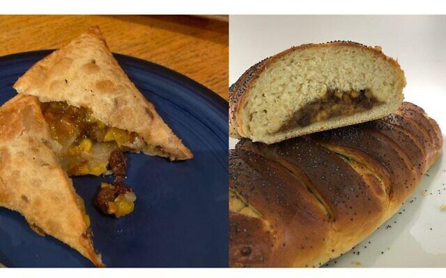 Indian charoset baked into braided fruit bread and samosas