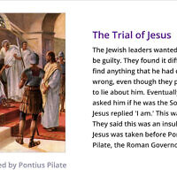 A slide from a homework assignment that blames Jews for Jesus' death. (Joanne Bell via Topmarks/Twitter)