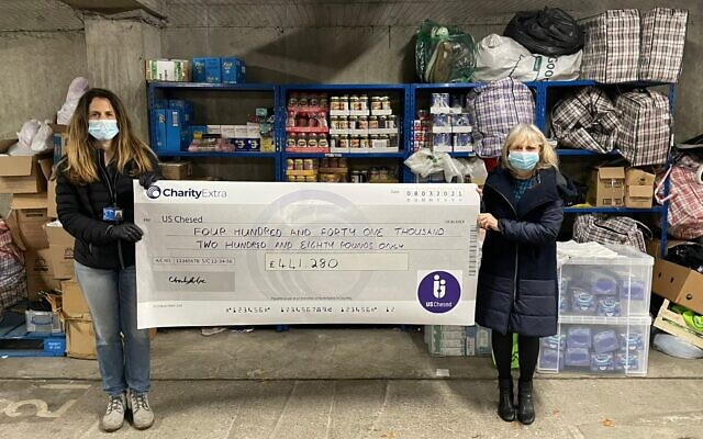 US Chesed's Michelle Minsky (r) and Yael Peleg (l) holding the appeal cheque standing in front of the US food bank which supports 120 families every week