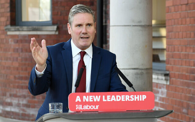 Labour leader Sir Keir Starmer delivers his keynote speech during the party's online conference.