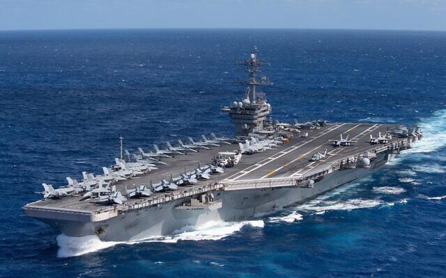 The aircraft carrier USS Theodore Roosevelt (CVN 71) transits the Pacific Ocean Jan. 25, 2020  (WIKIPEDIA/U.S. Navy photo by Mass Communication Specialist Seaman Kaylianna Genier / https://www.dvidshub.net/image/6045208/uss-theodore-roosevelt-cvn-71 )
