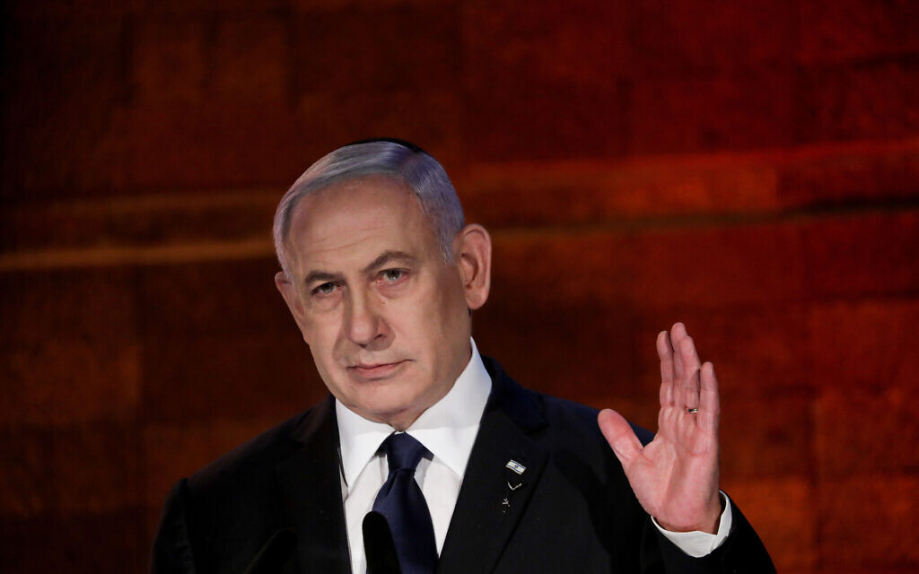 Israeli Prime Minister Benjamin Netanyahu speaks during a ceremony held at the Yad Vashem Holocaust Memorial Museum in Jerusalem, as Israel marks annual Holocaust Remembrance Day. April 7, 2021. Photo by Olivier Fitoussi-JINIPIX