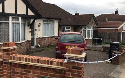 A photo taken at the time of a police cordon outside a bungalow in Rushden Gardens in Ilford, where Loretta Herman was found dead