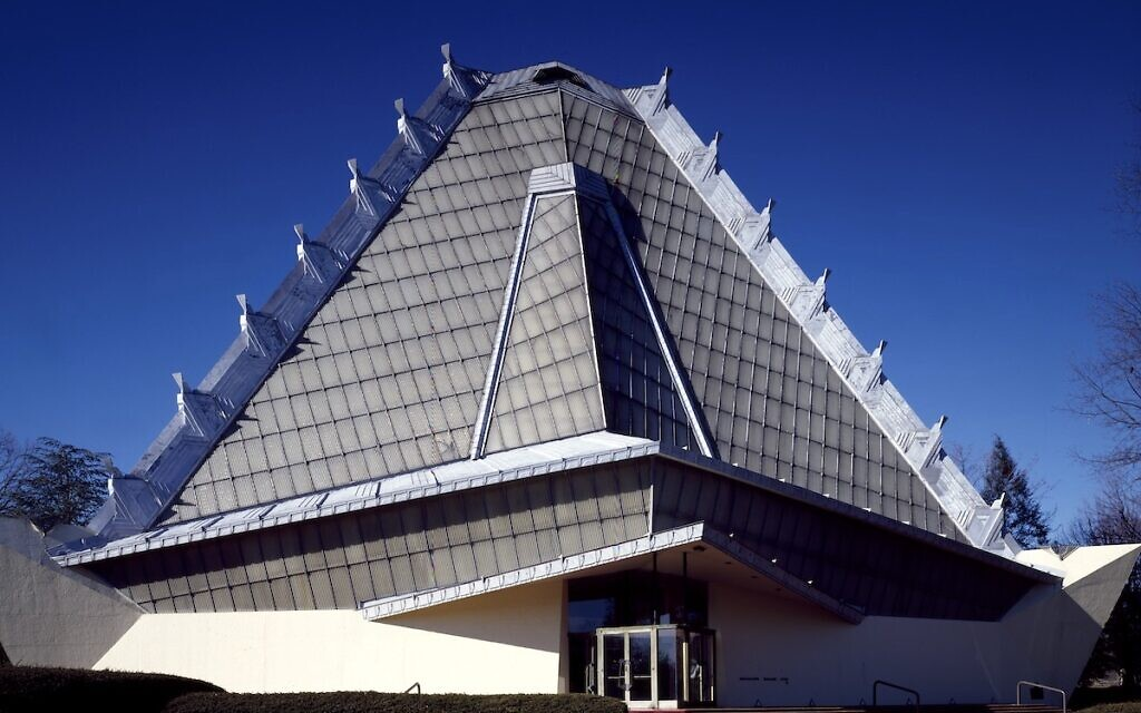 Beth Shalom Synagogue, built in 1960 in suburban Montgomery County outside Philadelphia to architecturally suggest Mount Sinai.