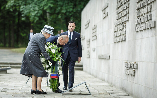 HRH Her Majesty the Queen and HRH Prince Phillip visiting the former Nazi concentration camp Bergen-Belsen in 2015