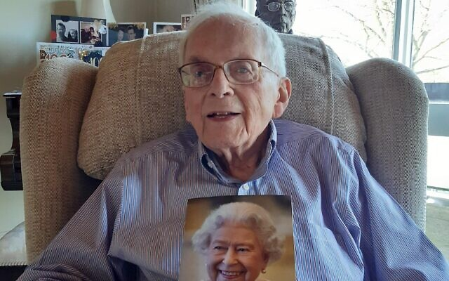 Freddie with his card from the Queen to celebrate turning 100 on Saturday