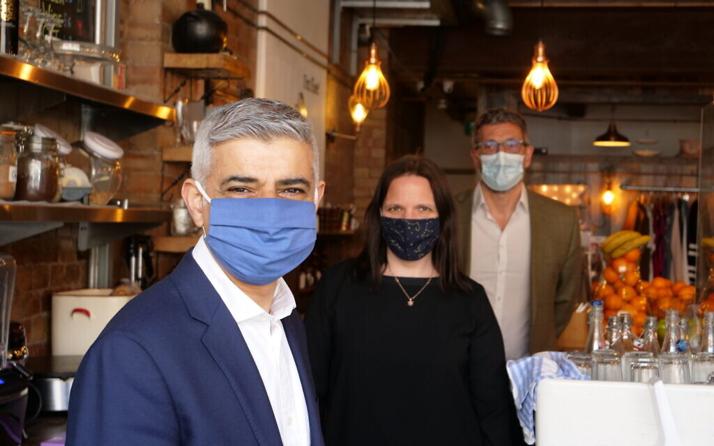 Sadiq Khan during a walk-a-bout in Golders Green as he seeks re-election.
