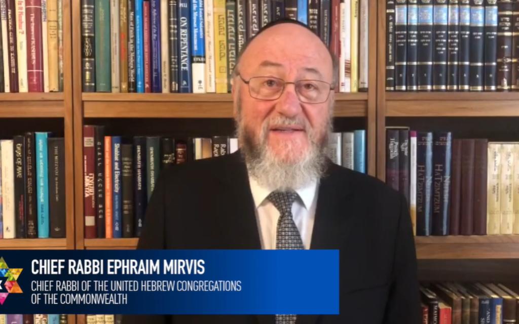 Chief Rabbi Mirvis during the Yom HaShoah ceremony