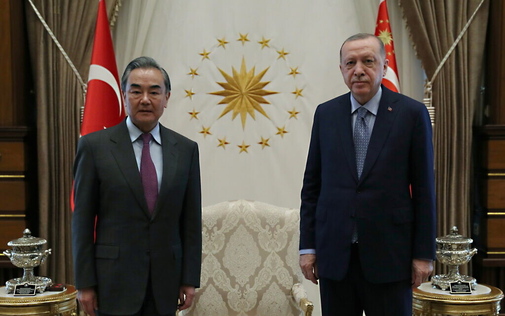 Turkish President Tayyip Erdoğan met China's Foreign Minister Wang Yi in Ankara last month. There was no deal (Photo: Turkish Presidency)
