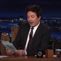 Jimmy Fallon was confused reading Israel's response to his Twitter hashtag game. (Screenshot from YouTube)