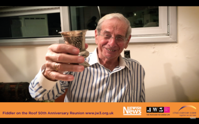 Chaim Topol during the Jewish News' video for the 50th anniversary of Fiddler on the Roof