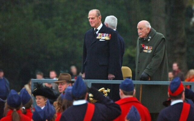 JLGB Members and Volunteers Salute the Duke of Edinburgh on Horse Guards Parade at the AJEX Parade 2004, with former AJEX and JLGB President Edmund de Rothschild  (Photo: John Rifkin)