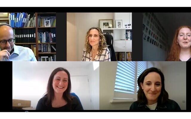 'Panellists Dr Ellie Cannon, Dr Leonora Weil, Dr Charlotte Benjamin and Dr Rabbi Raphael Zarum get questioned by LJF Trustee Esther Offenberg on why young adults should take the Covid-19 vaccination'