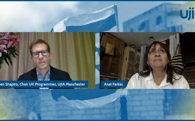 UJIA's Ben Shapiro and Anat Farkas, mother of the late Israeli helicopter pilot Thom (Photo: UJIA)