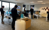 WWCS' team turned its office into a space to clean and distribute laptops