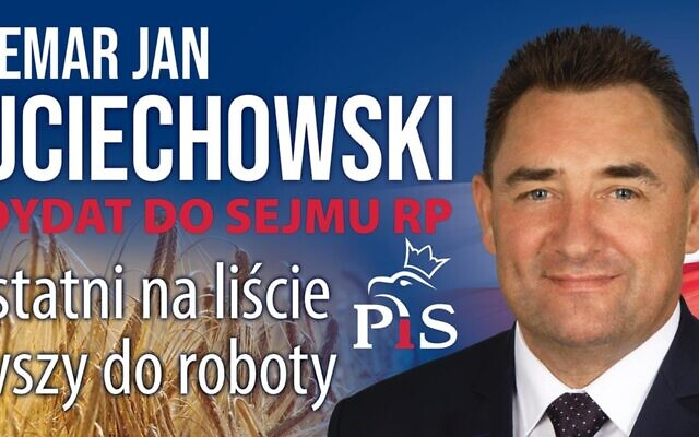 An election poster featuring Waldemar Wojciechowski ahead of the 2020 local elections in Poland. (PIS) Via JTA