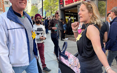 Two demonstrators wearing yellow star of David badges with the words 'no Covid' on it, which has been condemned by Shoah educators and communal leaders (Credit: Chloe Addelstone on Twitter)