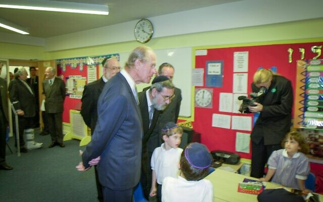 Prince Philip with Rabbi Lord Sacks at Hertsmere Jewish Primary (Credit: David Katz)