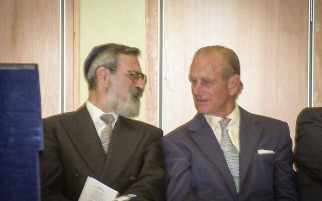 Prince Philip in conversation with former Chief Rabbi Lord Sacks at Hertsmere Jewish Primary (Credit: David Katz)