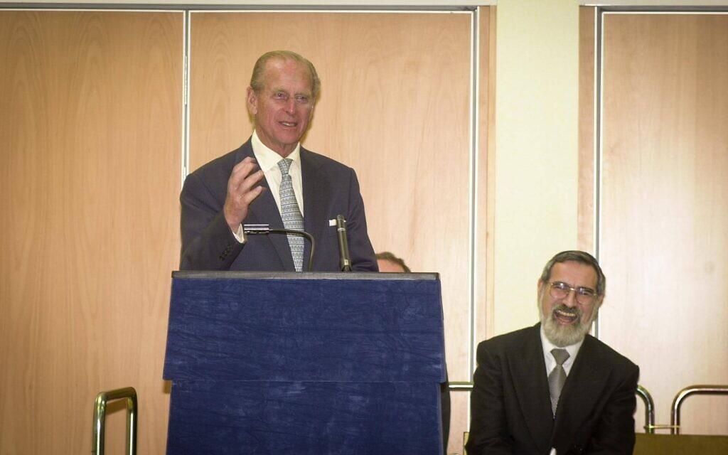 Prince Philip makes a joke at Hertsmere Jewish Primary's opening, which Rabbi Lord Sacks enjoyed! (Credit: David Katz)