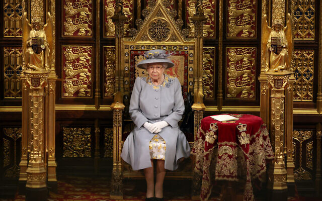 Queen Elizabeth II before she delivers a speech from the throne in House of Lords