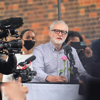 Former Labour Party leader Jeremy Corbyn speaks during a demonstration outside the Israeli embassy in London, in solidarity with the people of Palestine amid the ongoing conflict with Israel. Picture date: Saturday May 15, 2021.