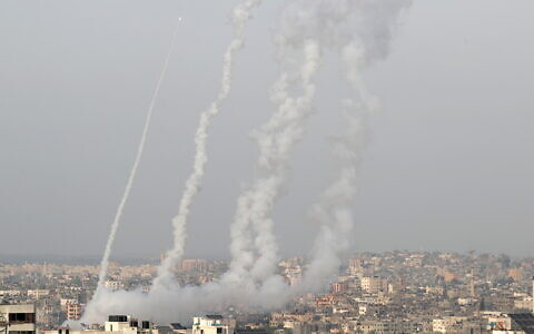 Rockets from Gaza launched by Palestinian militants into Israel on Monday evening (Photo: Reuters/Mohammed Salem)