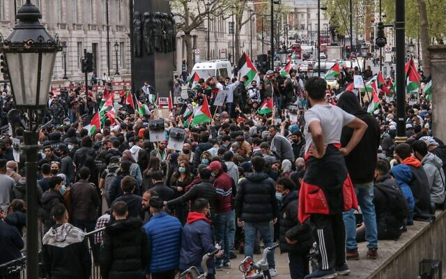 Palestinians in London gathered next to Downing Street to rally against a law discussed in the Knesset  on whether Jewish settlers can evict Palestinians by force from their homes. (Paul Quezada-Neiman/Alamy Live News)