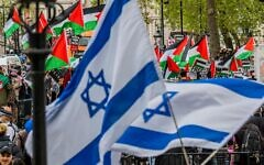 A pro Palestine demonstration in Whitehall opposite Downing Street, opposing Israel's latest plans to move Palestinian residents of Jerusalem. Credit: Guy Bell/Alamy Live News