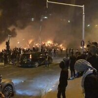 There were scenes of rioting in Lod overnight (Photo: Twitter)