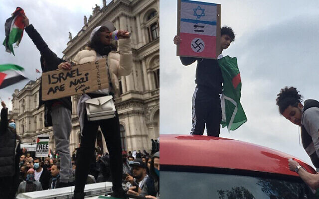 Demonstrators hold up banners at Tuesday's London demonstration, comparing Israel to Nazism
