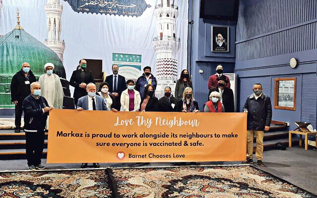 Interfaith leaders at the Markaz El Tathgheef El Eslami Islamic centre in Golders Green, promoting vaccinations