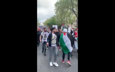 Screenshot from video where pro-Palestine demonstrators made antisemitic chants