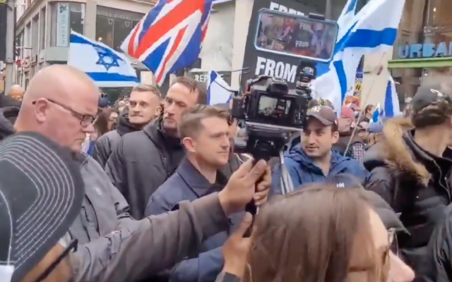 Tommy Robinson pictured at the pro-Israel rally in London