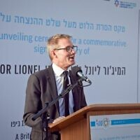 Ambassador Neil Wigan giving a speech at the ceremony