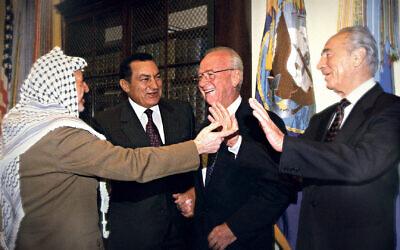 Yasser Arafat, Hosni Mubarak, Yitzhak Rabin and Shimon Peres during peace negotiations