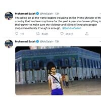 Mo Salah's post calling to end killing of innocents
