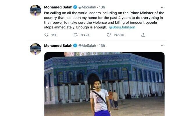 Mo Salah's post calling to end killing of innocents
