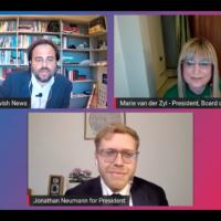 Richard Ferrer, Editor of Jewish News moderated the hustings between Marie van der Zyl and Jonathan Neumann