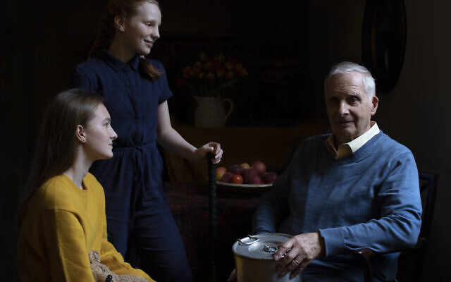 Steven Frank BEM, aged 84, with his granddaughters Maggie and Trixie. Steven survived multiple concentration camps as a child. (© The Duchess of Cambridge. )