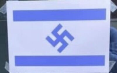 Poster with a swastika in the middle of an Israeli flag spotted on Royal Holloway campus
