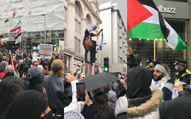 Protestors in London ripped up an Israeli flag, compares Zionism to Nazis, and called for the end of the Jewish state