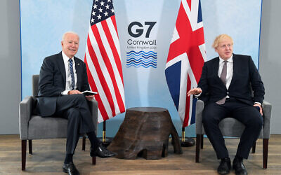 US President Joe Biden (left) talks with Prime Minister Boris Johnson, during their meeting , ahead of the G7 summit in Cornwall. Picture date: Thursday June 10, 2021.