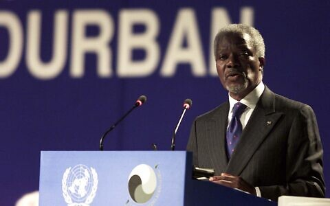 Kofi Annan Secretary-General of the United Nations Organisation addresses the delegations during the opening session of the World Conference Against Racism (WCAR) in the coastal city of Durban August 31,2001.[Some 6,000 delegates gathered for the ceremony which is already deeply mired in rows ranging from charges of Israeli racism to issues of reparations for slavery.