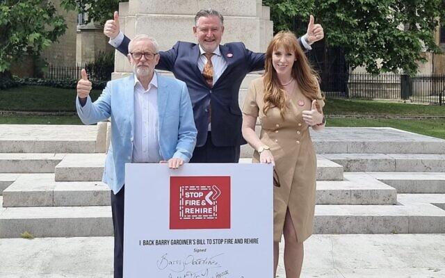Angela Rayner and Barry Gardiner 'photobombed' by Jeremy Corbyn   Credit: @JimmySecUK