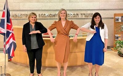 Liz Truss (centre) with Israel's minister Orna Barbivai (left) and envoy Tzipi Hotovely (right)
