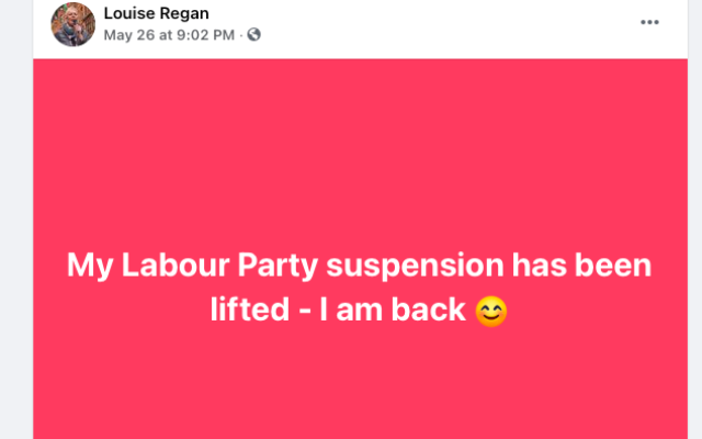 Louise Regan's Facebook post claiming she's back