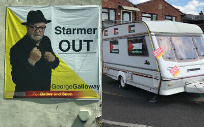 George Galloway's inflammatory Batley and Spen poster saying Starmer out, and a caravan supporting him, decorated with Palestinian flags (Picture credit: Lee Harpin)
